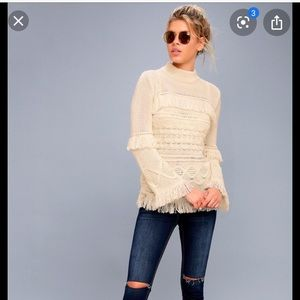 Fringe Cream Sweater
